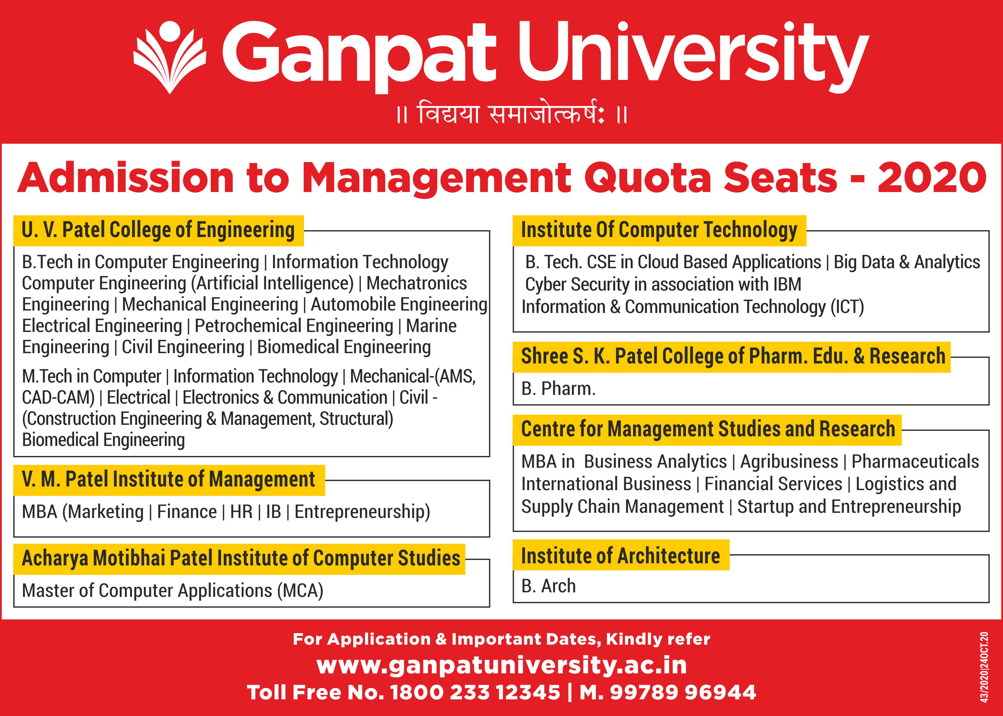 Admission to Management Quota Seats - 2020