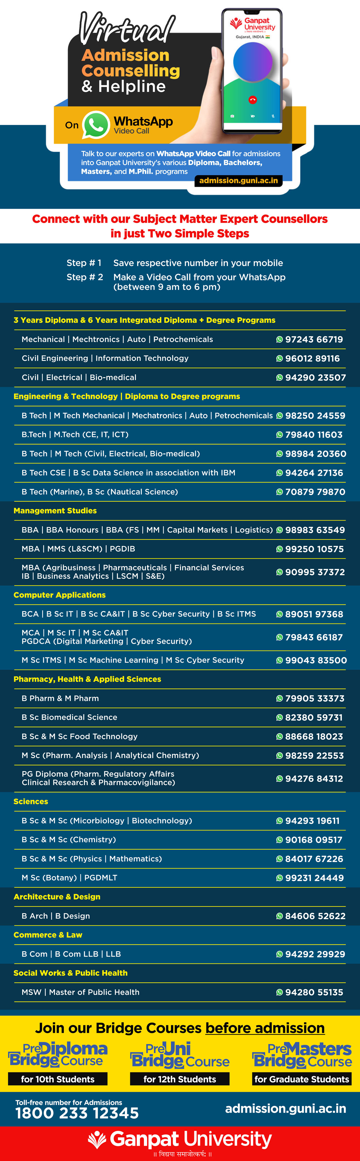 Virtual Admission Counselings and Helpline